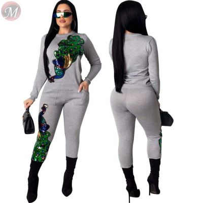 hot casual sexy tight round neck long sleeve sequin peacock club streetwear Two Piece Set Women Clothing