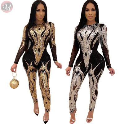 fashion sexy long sleeve perspective sequin night club bodycon jumpsuit Jumpsuit Women Winter Clothes