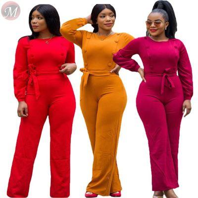 stylish casual jumpsuit solid color long sleeve botton with belt Woman Women Jumpsuit Romper