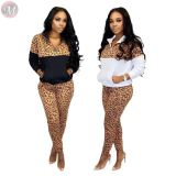 new design casual wear outside long sleeve leopard splice warm suit Women Winter Clothes