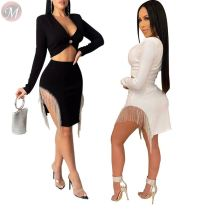 new style solid color sexy clubwear long sleeve blazer and diamond skirt women two piece skirt set