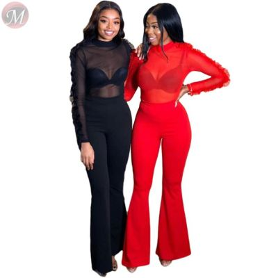 Sexy ruffle sleeve mesh perspective solid color clubwear flared trousers Clothing 2 Piece Set Women