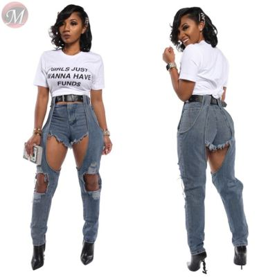 lowest price high waist hollow-out washed shorts long leg patchwork denim Pant Jeans High Fashion Womens Clothing