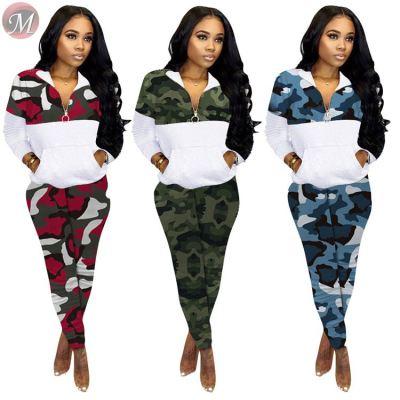 fashion casual sweat suit sportswear camouflage print splice zipper long sleeve Womens Two Piece Set Women Clothing