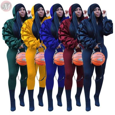 hot onsale solid color hooded puff sleeve zipper Winter Clothes 2 Piece Set Women