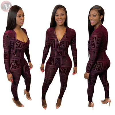 new casual sexy skinny long sleeve coat and jumpsuit clubwear print Woman 2 Piece Set Women Clothing