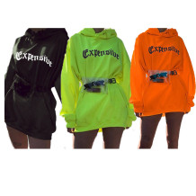 9121226 new sexy long sleeve loose letter print hooded solid color fashion hoodie Women Tops And hoodie