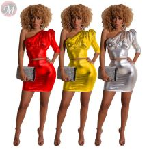 new sexy ciubwear skirt sets one shoulder wash gold reflective bodycon 2 Piece Set Women Clothing