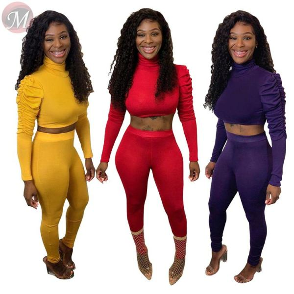 fashion new solid color long sleeve sportswear women tracksuit midriff outfit 2 Piece Set Women Clothing Sexy