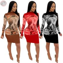 casual fashion night club long sleeve round neck positioning character printing Party Sexy Ladies Dress Fashion