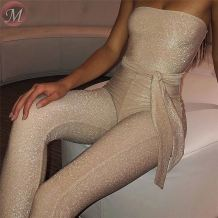 wholesale new sexy night club woman strapless backless lurex skinny solid color Romper Women Jumpsuit