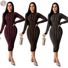 wholesale price O neck long sleeve vertical stripe high-elastic Bodycon Maxi Ladies Sexy Dress