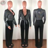 high quality sexy night club deep v neck sequin splicing long sleeve skinny Woman Romper Women Jumpsuit