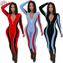 fashionable Patchwork Women Casual Jumpsuit Zipper V Neck Long Sleeve Skinny Romper Jumpsuit Clothing Woman