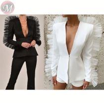 Casual sexy deep v neck ruffles women suit slim coat and short pants solid color Pant Sets Women 2 Piece Set Clothing