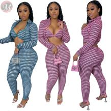 new stylish sexy fashion two piece suit long sleeve print coat and pant Clothing 2 Piece Set Women