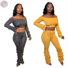 Fashion sexy midriff outfit off the shoulder puff sleeve solid color plicated Pant Sets Outfits Pieces Women Two Piece