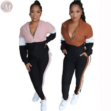 new casual fashion hooded long sleeve patchwork tracksuit zipper v neck Women 2 Piece Set Clothing