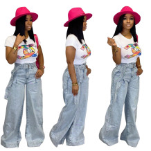 9111316  newest casual loose light blue washed Wide Leg High Waist Pants Jeans Women