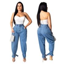 9111206 fashionable high waist washed tie hem loose straight Fashion Clothing Women Jeans Pants