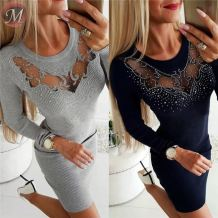 Fashion sweater dress round neck long sleeve lace splice hot drilling solid color Club Ladies Casual Dresses Women
