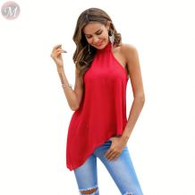 design fashion chiffon dissymmetry sleeveless halter bandage casual shirt solid color women sexy blouses tops