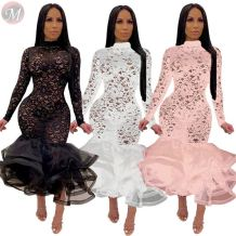 wholesale fashion sexy lace perspective hollow out elastic long sleeve ruffles Party Ladies Sexy Dress