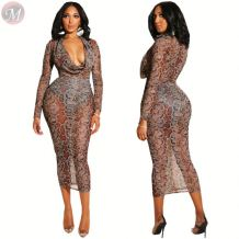 newest design sexy club dress deep v neck mesh perspective snakeskin print long sleeve Evening Club Dresses Women
