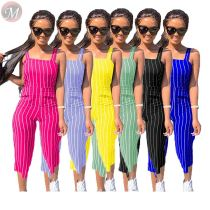 casual fashion summer jumpsuit cropped trousers stripe print sleeveless suspender pants 2020 women bodycon jumpsuit