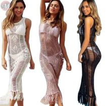 latest design Beach Cover Up Crochet Knitted Tassel Summer Swimsuit Cover Up Sexy See-through Beach Maxi Dress cover up