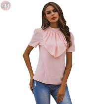 fashion casual ladies blouse short sleeves shirt solid color ruffles round neck women sexy tops