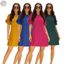 hot selling solid color round neck sweet ruffles short sleeve Ladies Casual Dresses Women