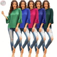 fashionable casual solid color loose flare sleeve splicing backless t shirt Fashion Blouse Women Tops