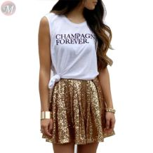 best design fashion Gold sequins pleated skirt mini skirt dance women sexy skirts