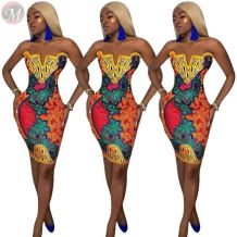 newest sexy strapless clubwear national wind dress ladies positioning print bodycon dress Evening party Bodycon Dress