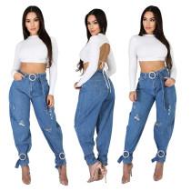 0022705 Fashion Ripped Casual Denim Trousers Loose Leggings High Waist Jeans Casual Women Pants