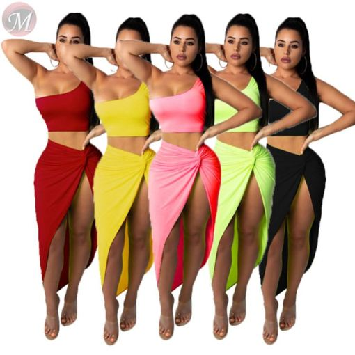 wholesale sexy skirt set solid color sleeveless Skirt casual suit plicated split asymmetric women two piece skirt set
