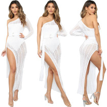0022809 New Sexy Crochet White Knitted Beach Cover Up Tunic Long Pareos Bikinis Beach Women Swimwear Beach Dress Cover Up