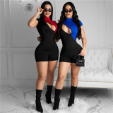 0031304 Latest Design Sexy One Piece Short Sleeve Zipper Lady Romper Shorts Bodysuit Contrast Color Women Jumpsuit For Mujer