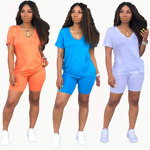 Q032301 2020 Summer Sexy 2 Pcs Track Suit Outfits Two Piece Shorts Set Women Clothing For Women Two Piece