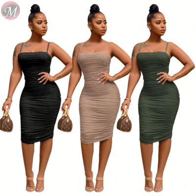 0031606 Hot Pleated mesh bodycon Night Evening Club Sexy Clothes Party Lady Elegant Summer Women Girls' Casual Dress For Woman