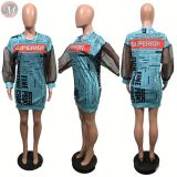 0031607 Newest organza long sleeve splice letter print newspaper Summer Women Sexy Clothes Lady Elegant Girls' Casual Dress