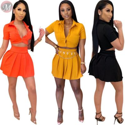 0031609 Hot mini pleated Summer Sexy 2020 2 Pcs Track Suit Outfits Two Piece Short skirt Set Women Clothing For Women Two Piece