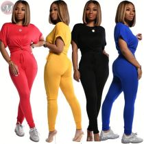 0031608 Casual lady suit 2020 Summer 2 Pcs Track Suit Outfits Sexy Top And Pants Two Piece Set Women Clothing For Women