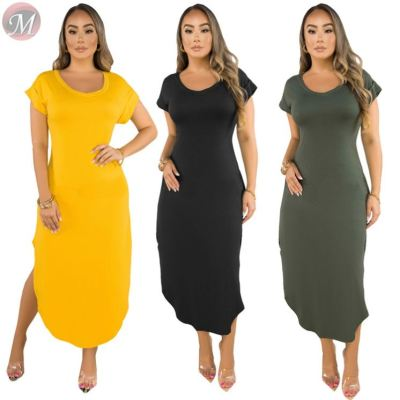 0031605 New stylish western style solid color short sleeve round neck asymmetric Lady Elegant Sexy Clothes Summer Casual Dress