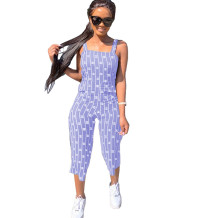 Q033004-5 Custom Summer Striped Letter Short Casual Sleeveless Fashion Ladies Women One Piece Jumpsuits And Rompers For Women