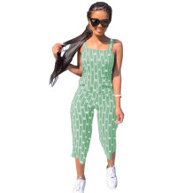 Q033004-3 Custom Summer Striped Letter Short Casual Sleeveless Fashion Ladies Women One Piece Jumpsuits And Rompers For Women
