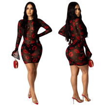 Q033007-1 Latest Design Wholesale Lady Fashion Sexy Club Knit Mesh Lip Print Apparel Long Sleeve Summer Women Mini Bodycon Dress