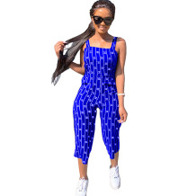 Q033004-4 Custom Summer Striped Letter Short Casual Sleeveless Fashion Ladies Women One Piece Jumpsuits And Rompers For Women