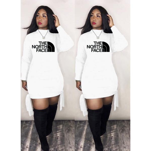 Q033001-1 Latest Design Wholesale Apparel Knit Print Long Sleeve Fashion Casual Hoodie Women Clothing Dress